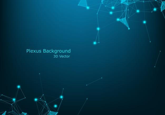 Dados futuristas do wireframe da rede azul abstrata do fio da tecnologia com efeito da luz. fundo de conexão de dados grande