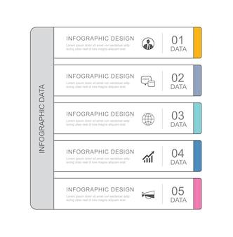 Dados infográficos guia papel modelo de índice de linha fina.