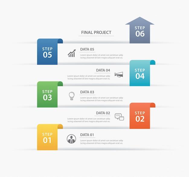 Dados infográficos timeline guia modelo de índice de papel.