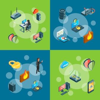 Dados isométricos e conceito de infográfico de ícones de segurança de computador