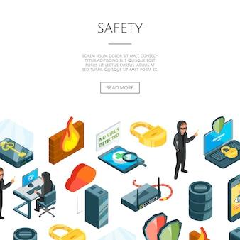 Dados isométricos e ícones de segurança de computador