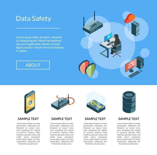 Dados isométricos e ícones de segurança do computador modelo de página de destino