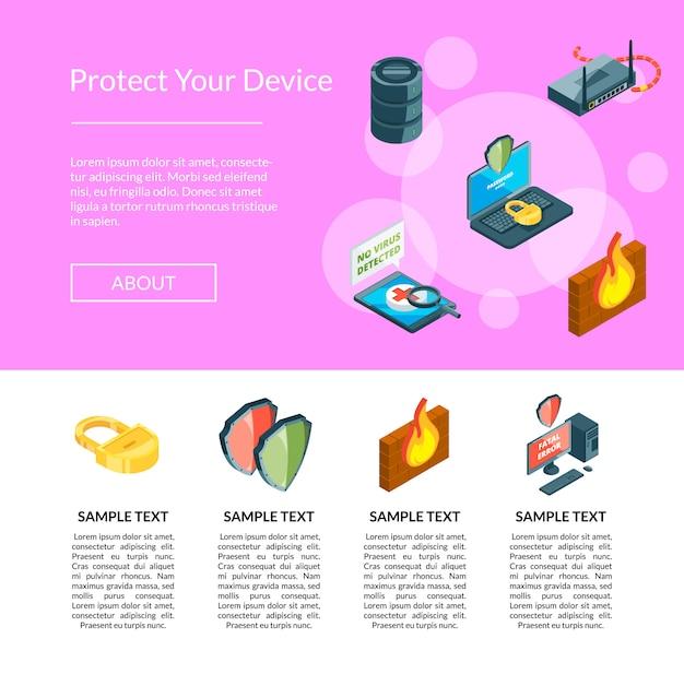 Dados isométricos e ícones de segurança do computador