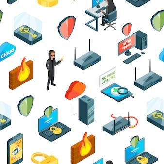 Dados isométricos e padrão de ícones de segurança de computador ou