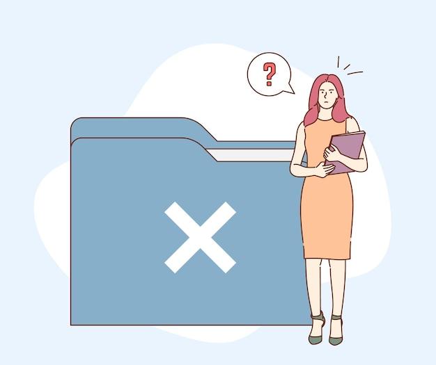 Dados, pesquisa, não, encontrado ,. a jovem empresária fica intrigada com a busca e busca de documentos.