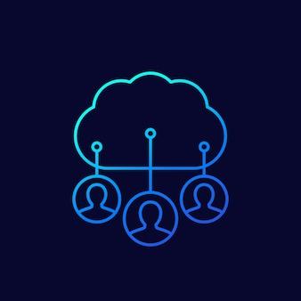 Dados pessoais em ícone de linha de nuvem, vetor