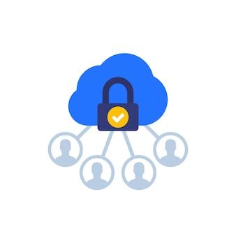 Dados pessoais na nuvem, ícone de privacidade