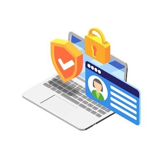 Dados pessoais protegidos em ilustração isométrica de laptop com elementos coloridos em branco
