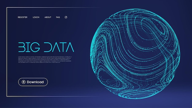 Dados protegem ilustração digital esfera abstrata campo de energia fundo azul barreira de tecnologia