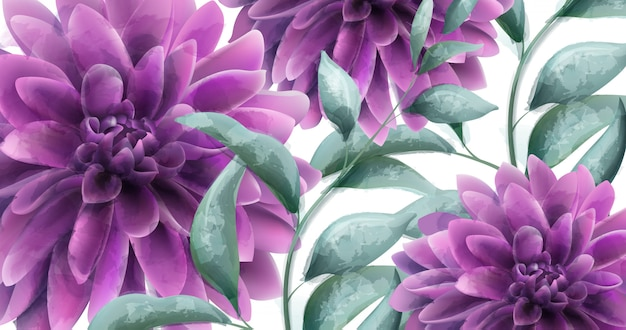 Dahlia purple flowers banner aquarela