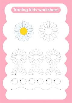 Daisy - traçar linhas de escrita e planilha de prática de desenho para crianças