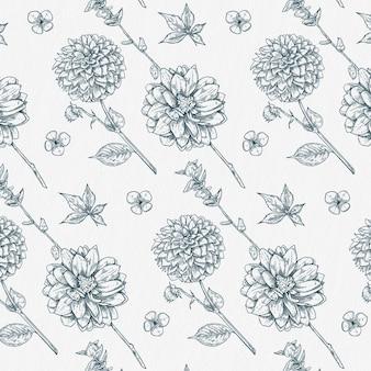 Dália desenhada à mão e flores silvestres padrão botânico vintage