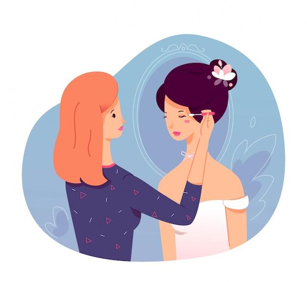 Dama de honra mestre fazendo maquiagem para noiva