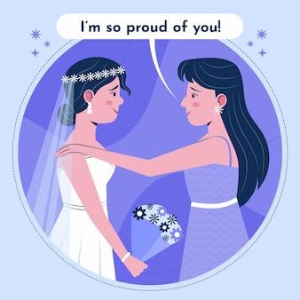 Dama de honra plana orgânica incentivando a noiva