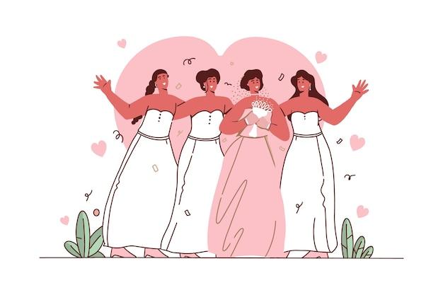 Damas de honra com design plano ilustrado