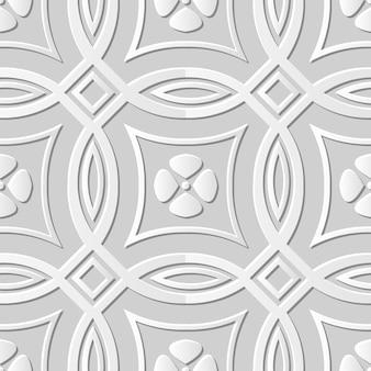 Damasco arte em papel 3d sem costura cross cround flower