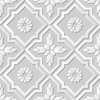 Damasco arte em papel 3d sem costura cruzada flor redonda