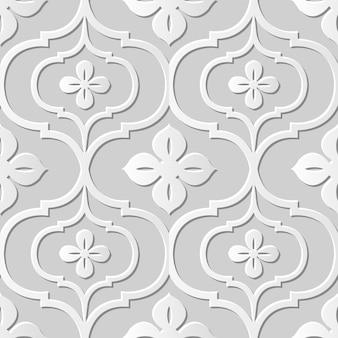 Damasco arte em papel 3d sem costura curva cruz flor