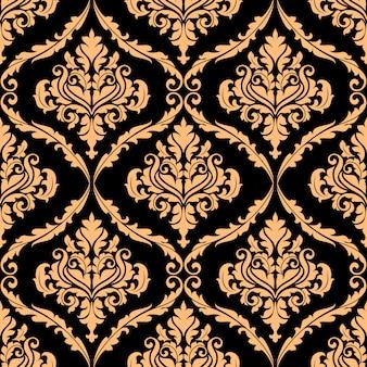 Damasco padrão floral com cores marrons