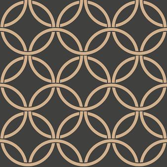 Damasco padrão retro sem costura de fundo oriental curva redonda cruz frame cadeia.