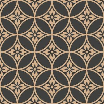 Damasco padrão retro sem costura de fundo oriental redondo flor de corrente de moldura transversal.
