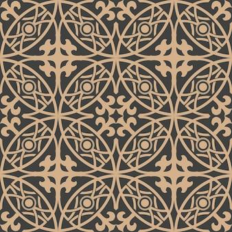 Damasco padrão retro sem costura de fundo redondo curva cruzada linha de quadro.