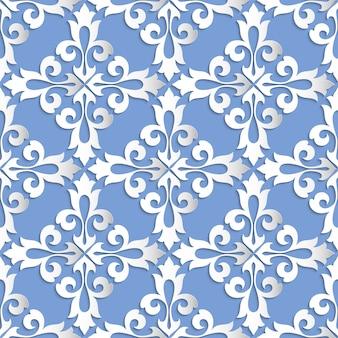 Damasco sem costura de fundo. textura de luxo elegante para papéis de parede, planos de fundo e preenchimento da página. elementos 3d com sombras e destaques. corte de papel.