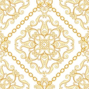 Damasco sem costura padrão. bege dourado na textura branca com correntes. ilustração.