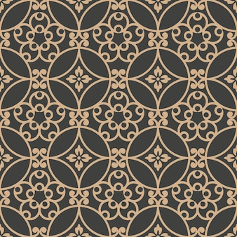 Damasco sem costura padrão retro de fundo redondo espiral curva cruz frame flor de videira.