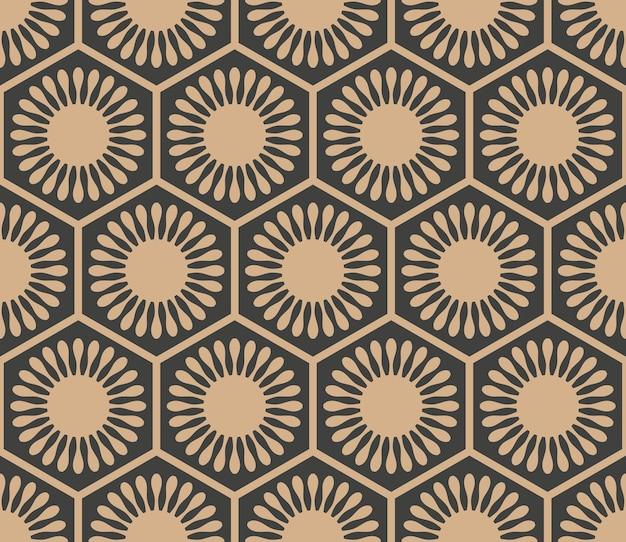Damasco sem costura padrão retro fundo geometria oriental polígono redondo flor moldura cruzada.