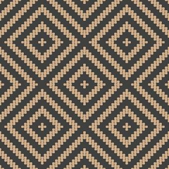 Damasco sem costura padrão retro fundo mosaico verificar geometria losango cruzar linha de quadro.