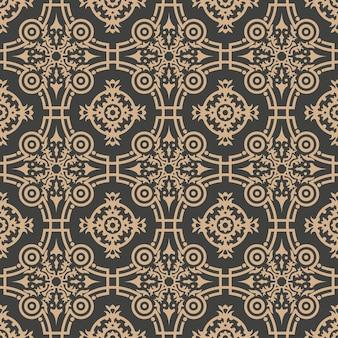 Damasco sem costura retro padrão de fundo curva redonda cruz frame flor do jardim botânico.