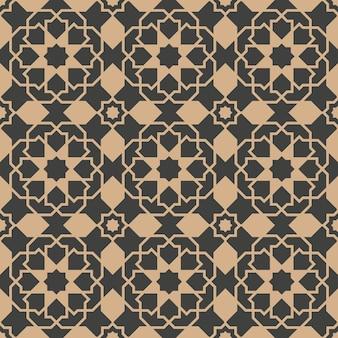 Damasco sem costura retro padrão de fundo polígono de geometria islâmica cruz estrela caleidoscópio quadro.