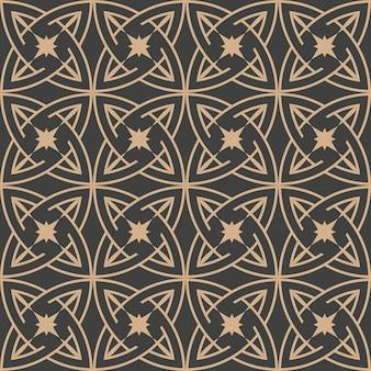 Damasco sem costura retro padrão de fundo redondo curva cruzada cadeia de quadro de estrela.