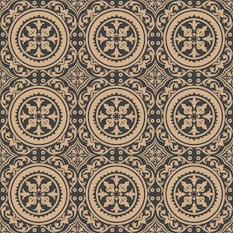 Damasco sem costura retro padrão de fundo redondo curva espiral cruzada planta videira quadro flor.