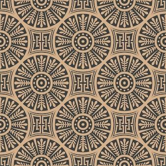 Damasco sem costura retro padrão de fundo redondo espiral cruzada folha quadro cadeia linha.