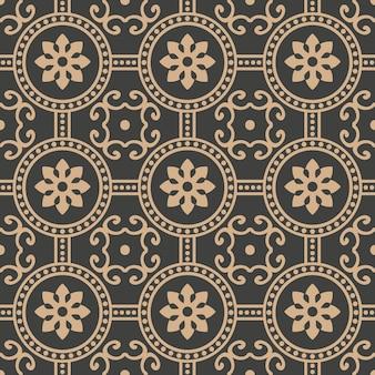 Damasco sem costura retro padrão de fundo redondo flor de linha de pontos de moldura cruzada.