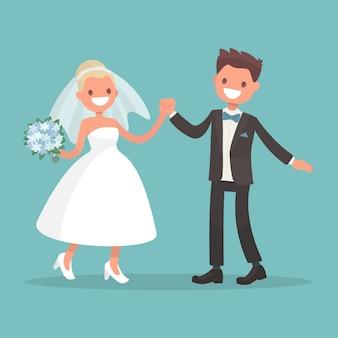 Dança da noiva e do noivo. personagens para convites de casamento