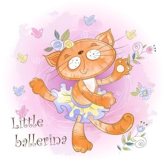 Dança de bailarina gatinho fofo. pequena bailarina. inscrição.