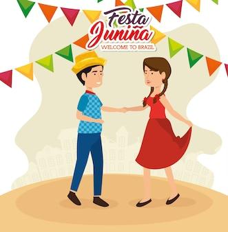 Dança de casal com sinal de festa junina e ilustração em vetor banners coloridos