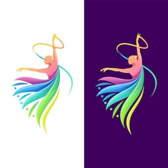 Dança de design de logotipo de cor