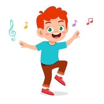 Dança de menino feliz criança fofa com música