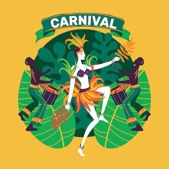 Dança de mulher em traje de carnaval colorido