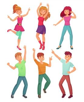 Dança de pessoas dos desenhos animados