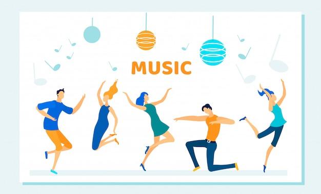 Dança de pessoas na festa de discoteca, ritmo de música, lazer