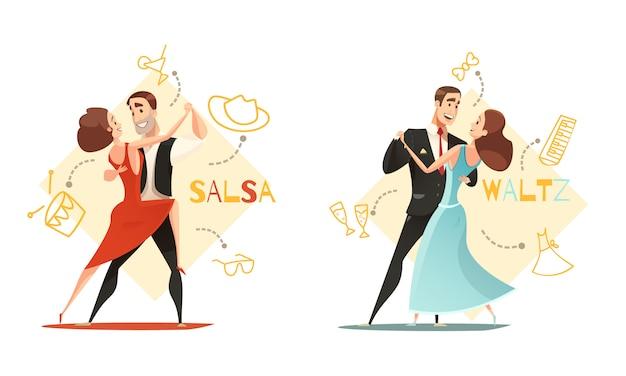 Dança de valsa e casais de salsa 2 modelos de desenhos animados retrô com ícone de acessórios tradicionais delineados