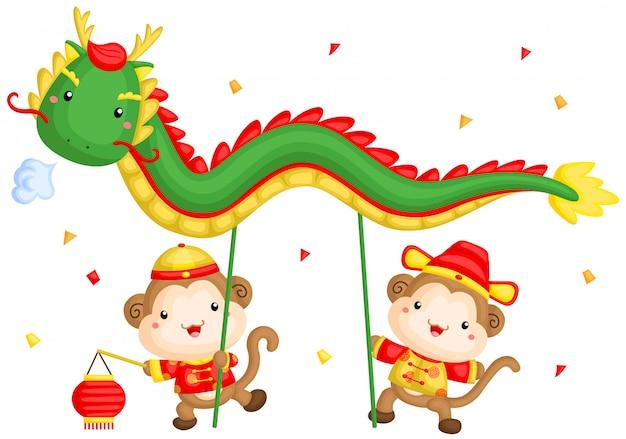 Dança do dragão chinês macaco