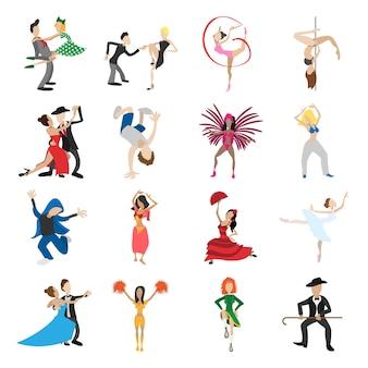 Dança dos desenhos animados ícones conjunto isolado
