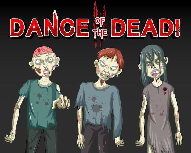 Dança dos mortos com três zumbis assustadores