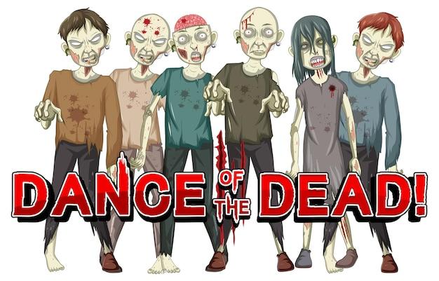 Dança dos mortos com zumbis assustadores